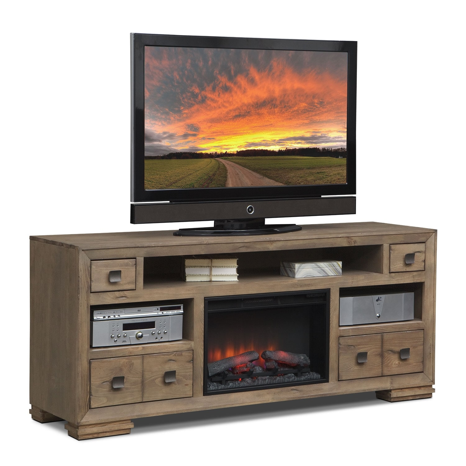 mesa 74 fireplace tv stand with traditional insert distressed pine value city furniture. Black Bedroom Furniture Sets. Home Design Ideas