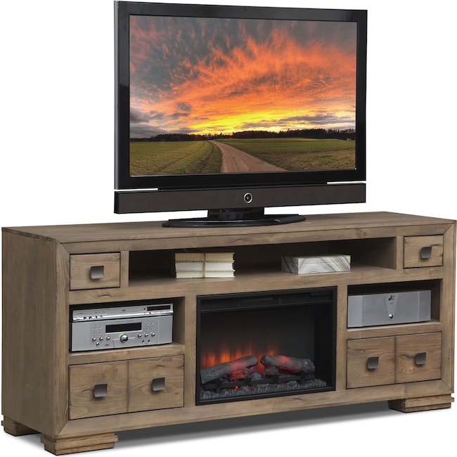 """Entertainment Furniture - Mesa 74"""" Fireplace TV Stand with Traditional Insert - Distressed Pine"""