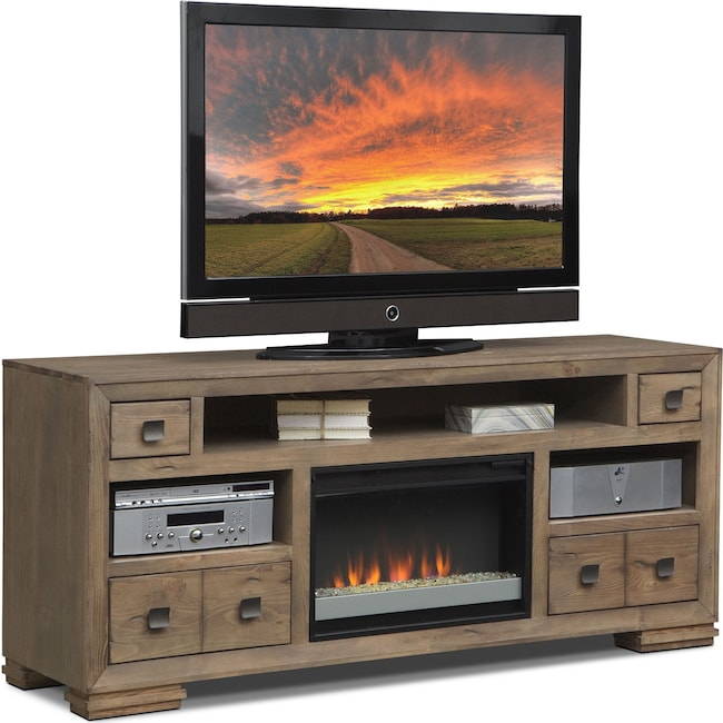 """Entertainment Furniture - Mesa 74"""" Fireplace TV Stand with Contemporary Insert - Distressed Pine"""