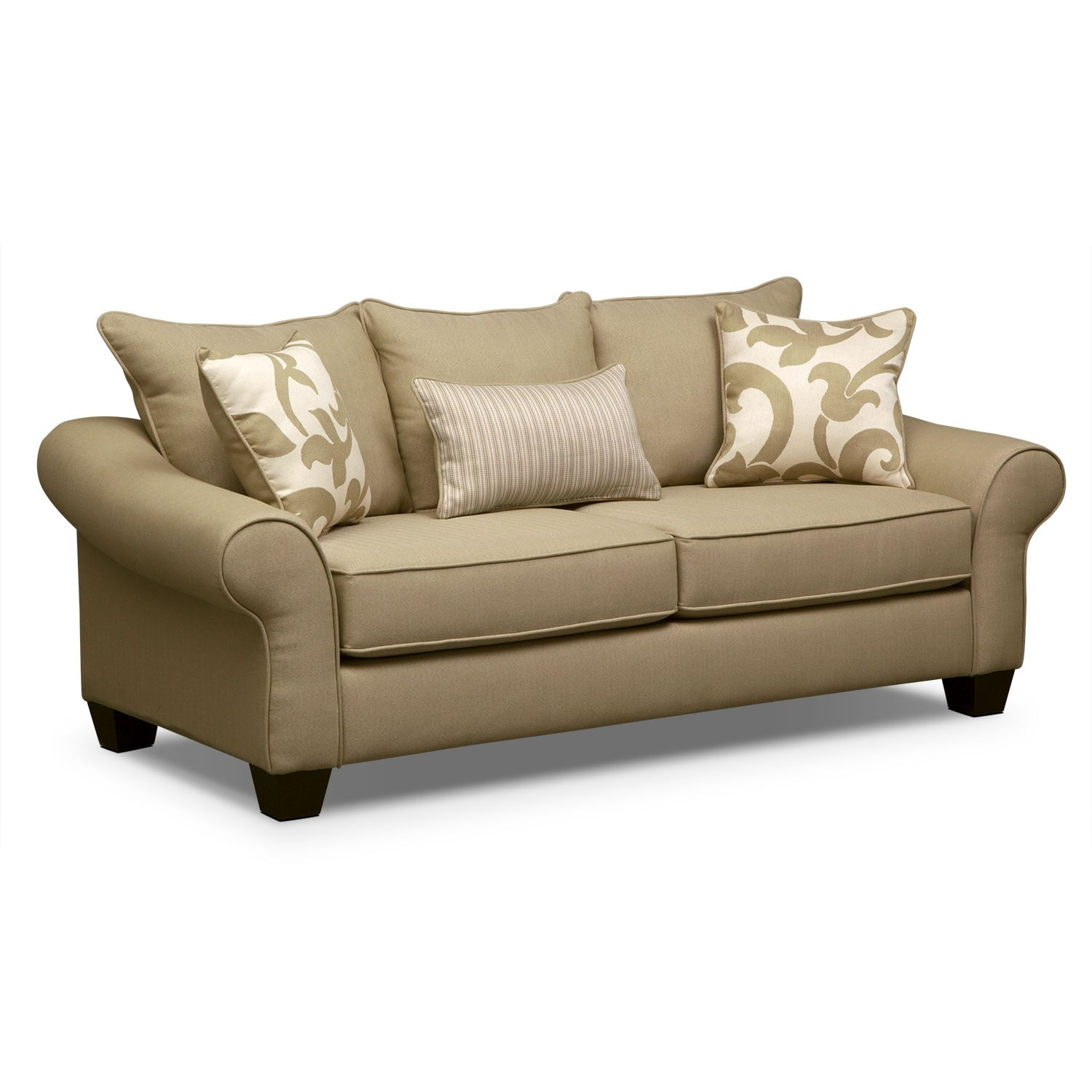 Colette Sofa Loveseat and Accent Chair Set Khaki