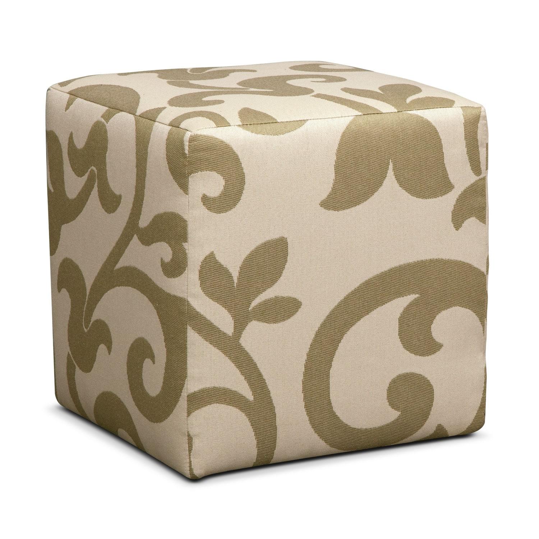 Colette Khaki Cube Ottoman
