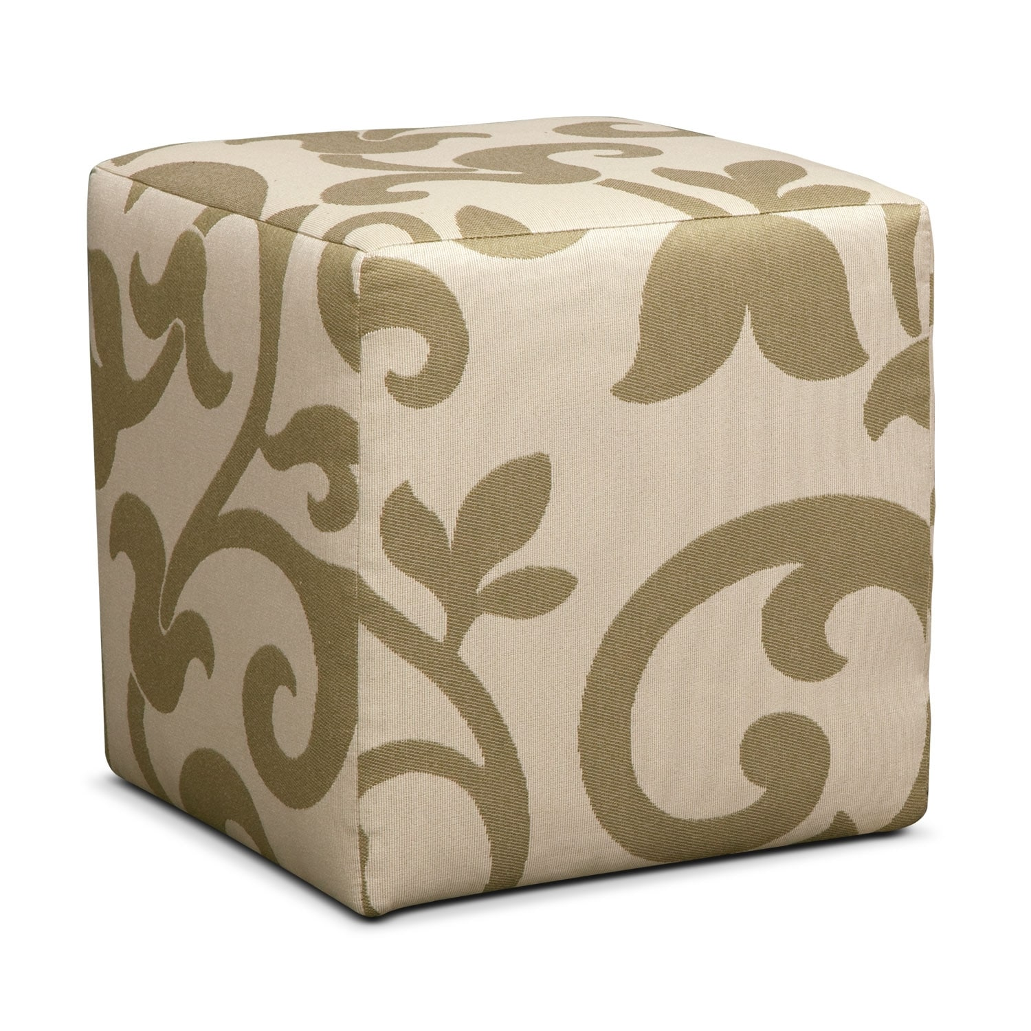 Living Room Furniture - Colette Cube Ottoman - Khaki
