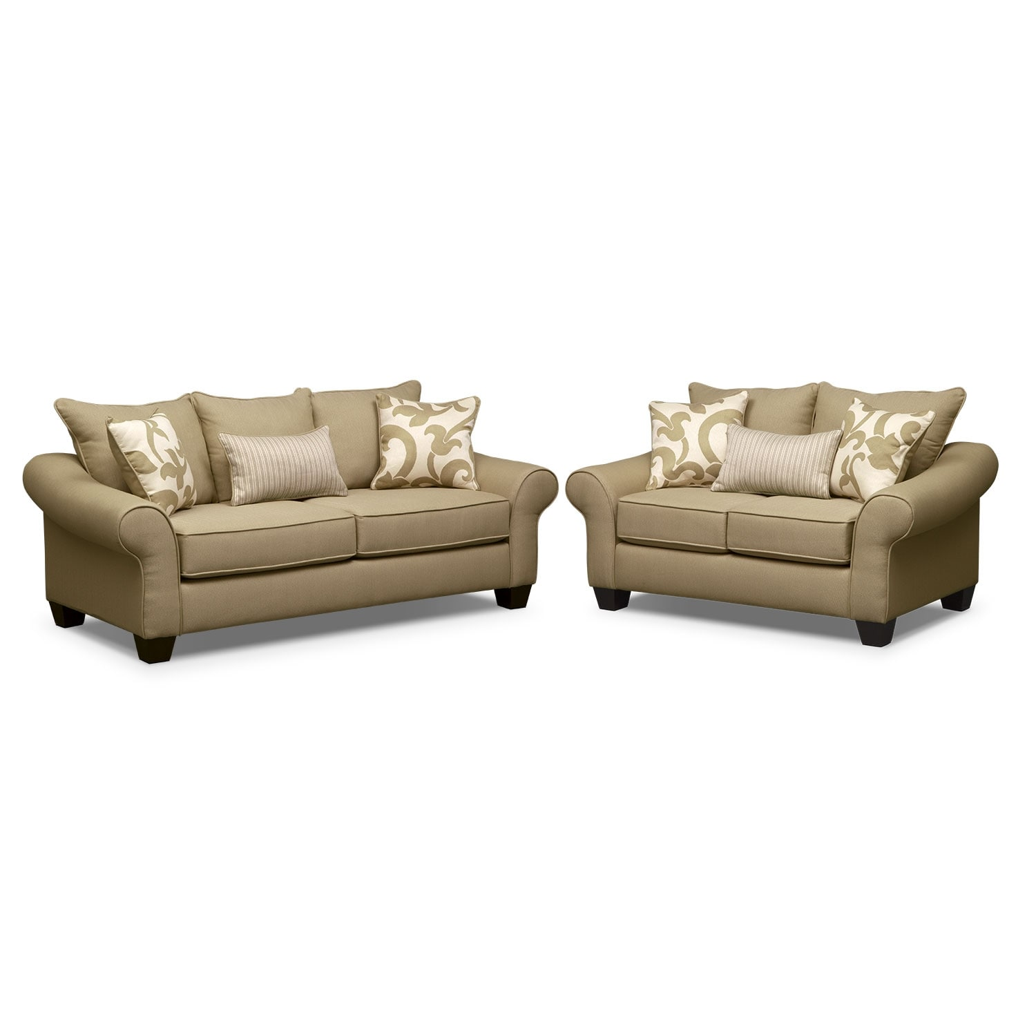 Living Room Furniture - Colette Khaki 2 Pc. Sleeper Living Room with Memory Foam Mattress