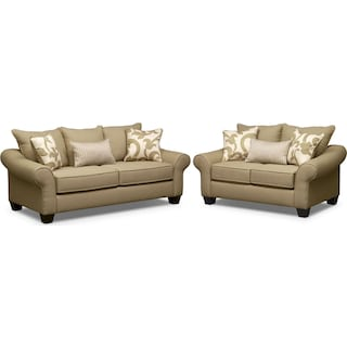 Colette Sofa and Loveseat Set - Khaki