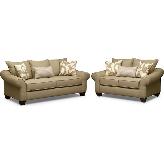 Living Room Furniture - Colette Full Innerspring Sleeper Sofa and Loveseat Set - Khaki