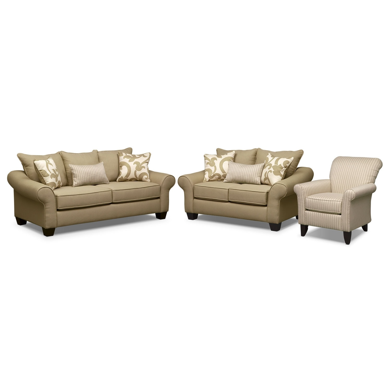 Living Room Furniture - Colette Full Memory Foam Sleeper Sofa, Loveseat and Accent Chair Set - Khaki