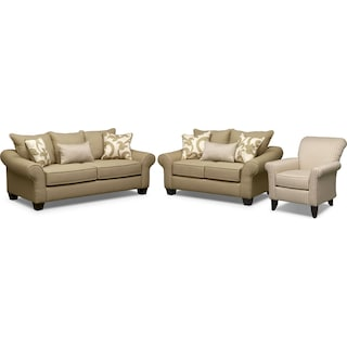 Colette Full Memory Foam Sleeper Sofa, Loveseat and Accent Chair Set - Khaki