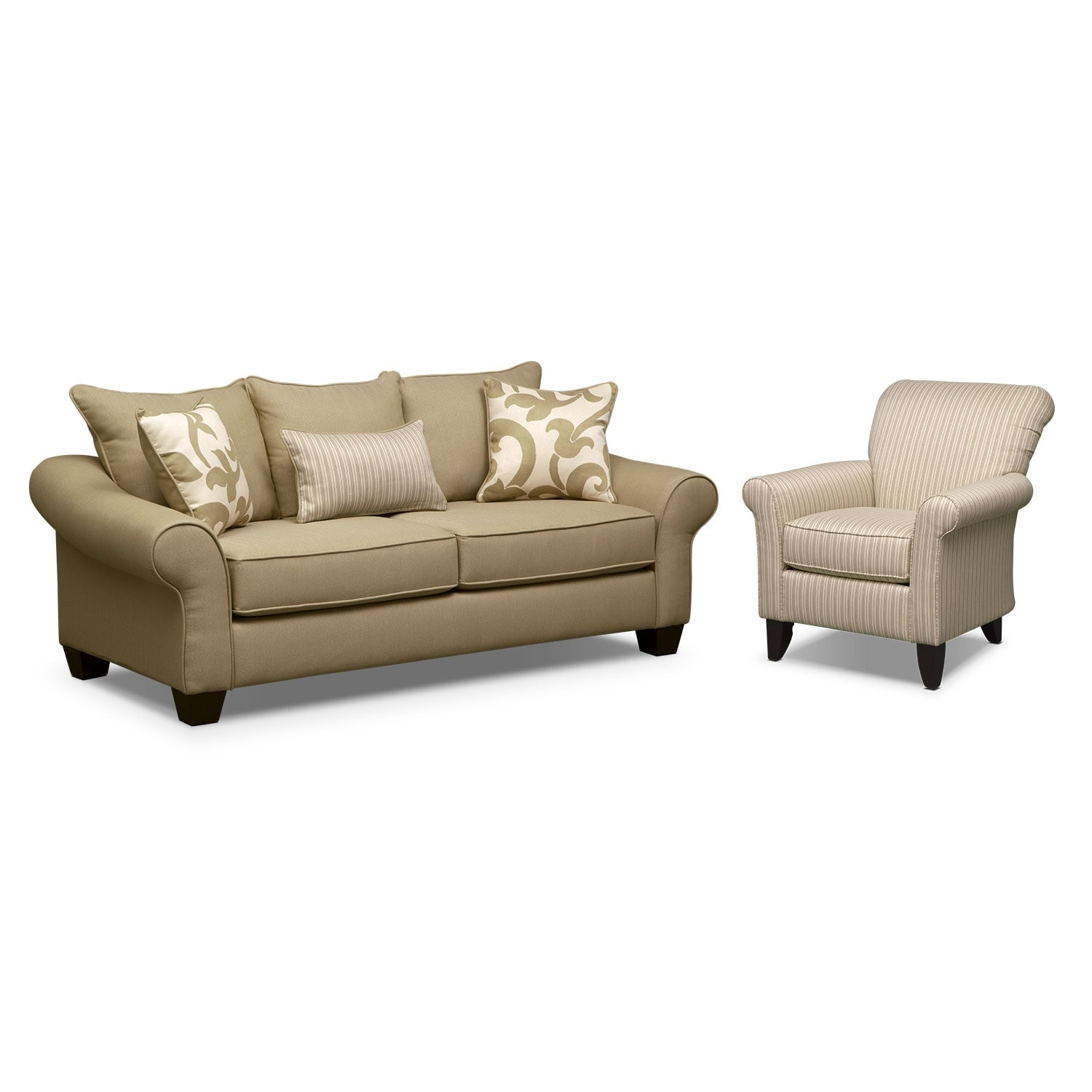 Living Room Furniture - Colette Khaki 2 Pc. Living Room w/ Accent Chair