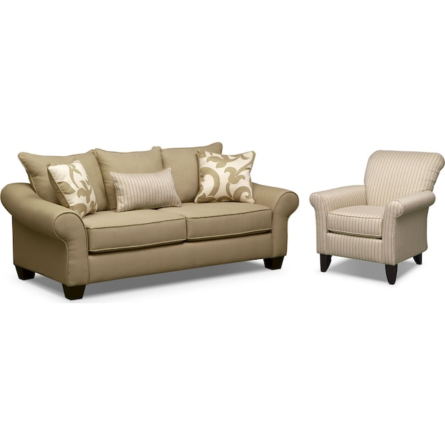 Living Room Furniture - Colette Full Memory Foam Sleeper Sofa and Accent Chair Set - Khaki