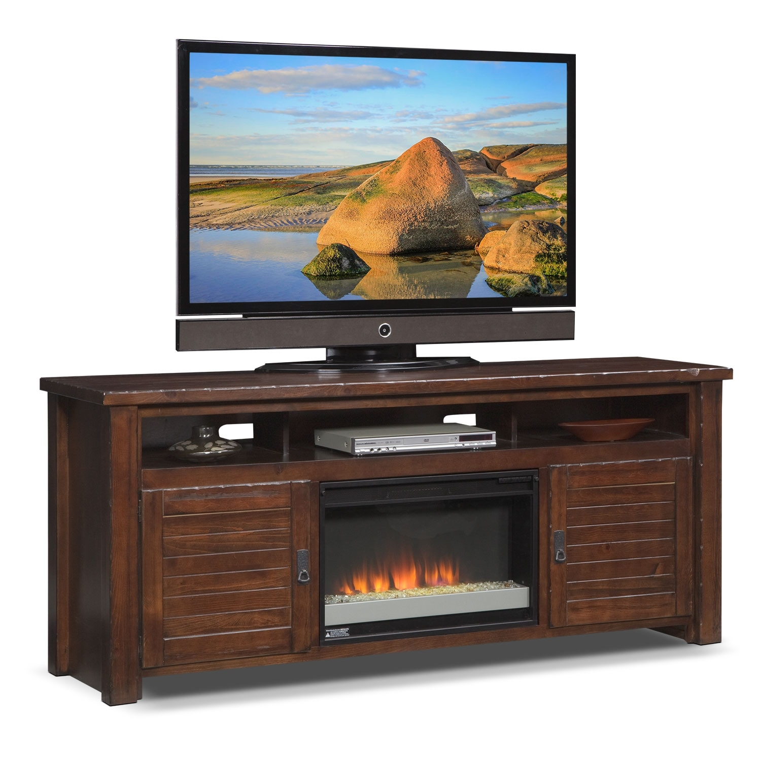 "Entertainment Furniture - Prairie 74"" Fireplace TV Stand  with Contemporary Insert - Mesquite Pine"