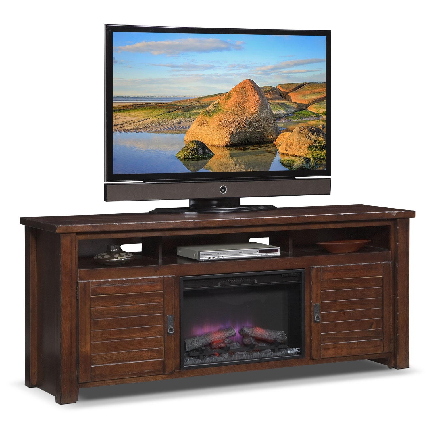 "Entertainment Furniture - Prairie 74"" Fireplace TV Stand with Traditional Insert - Mesquite Pine"