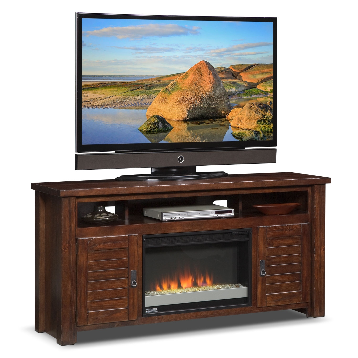 "Entertainment Furniture - Prairie 64"" Fireplace TV Stand with Contemporary Insert - Mesquite Pine"