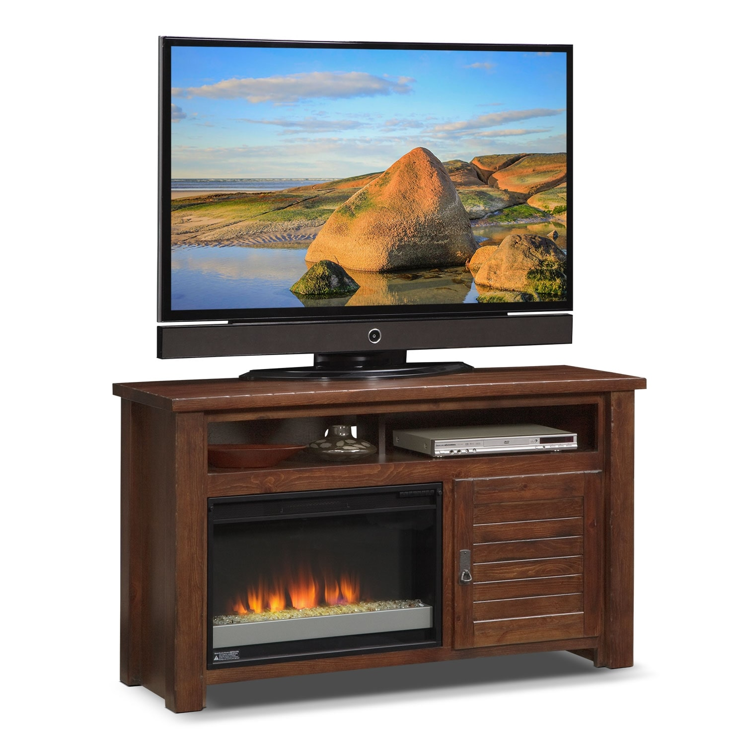 "Entertainment Furniture - Prairie 54"" Fireplace TV Stand with Contemporary Insert - Mesquite Pine"