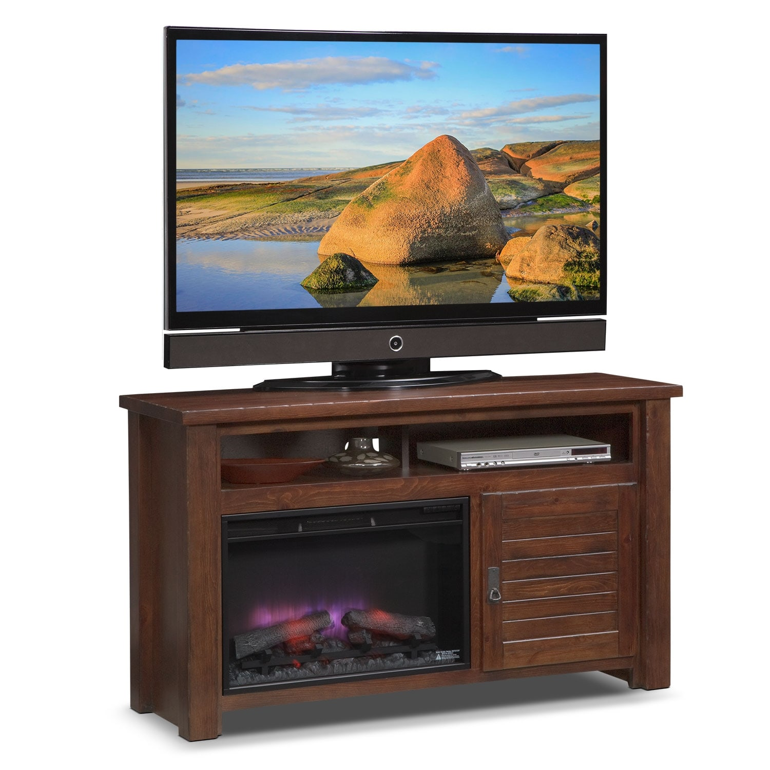 """Prairie 54"""" Fireplace TV Stand with Traditional Insert - Mesquite Pine"""