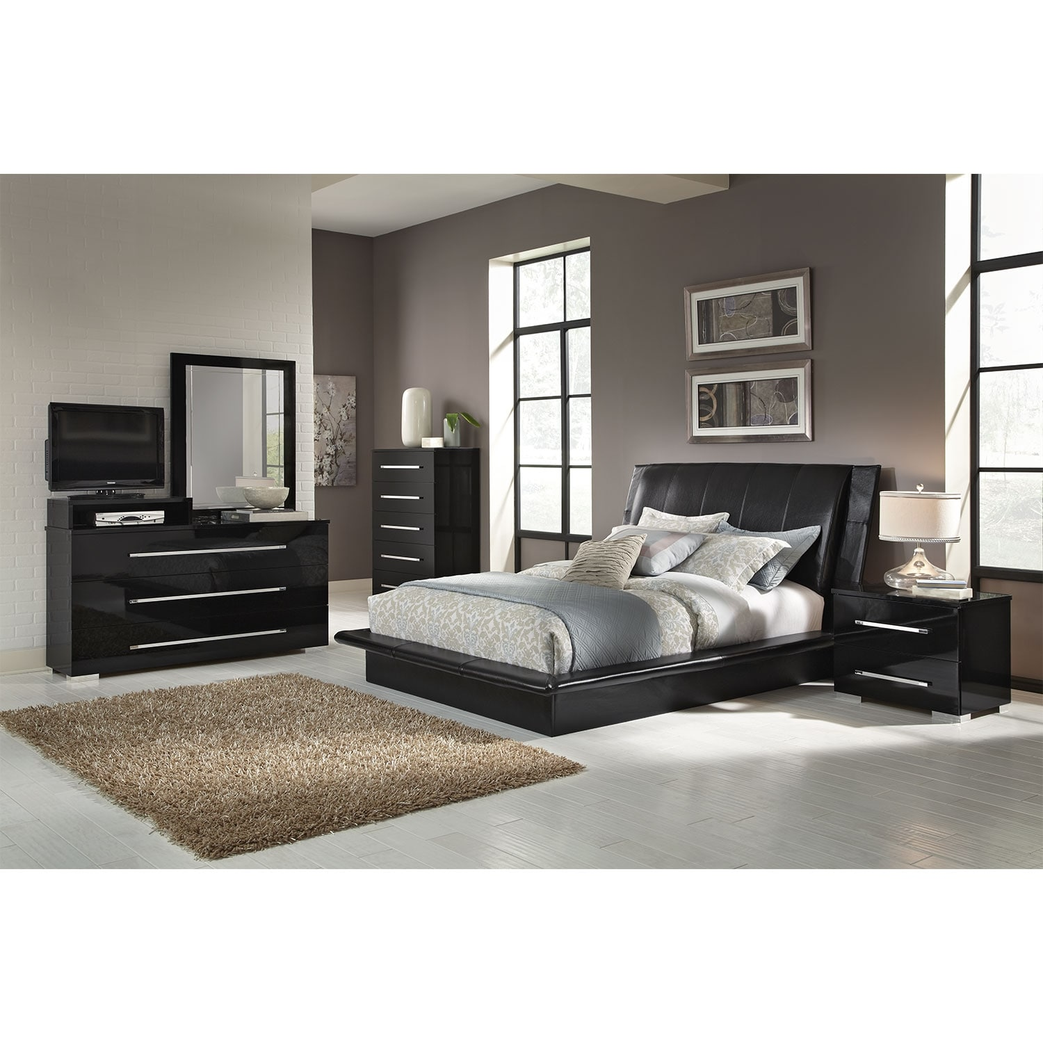 Dimora 7-Piece King Upholstered Bedroom Set with Media Dresser - Black