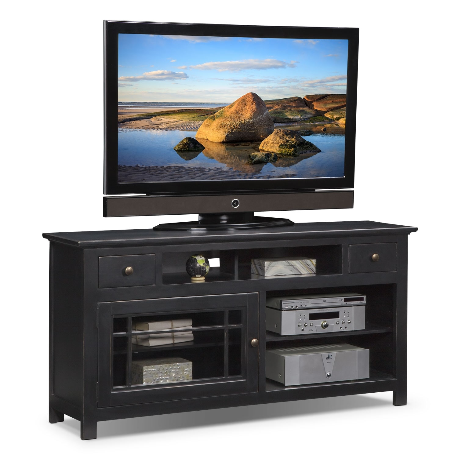 "Entertainment Furniture - Merrick 64"" TV Stand - Black"