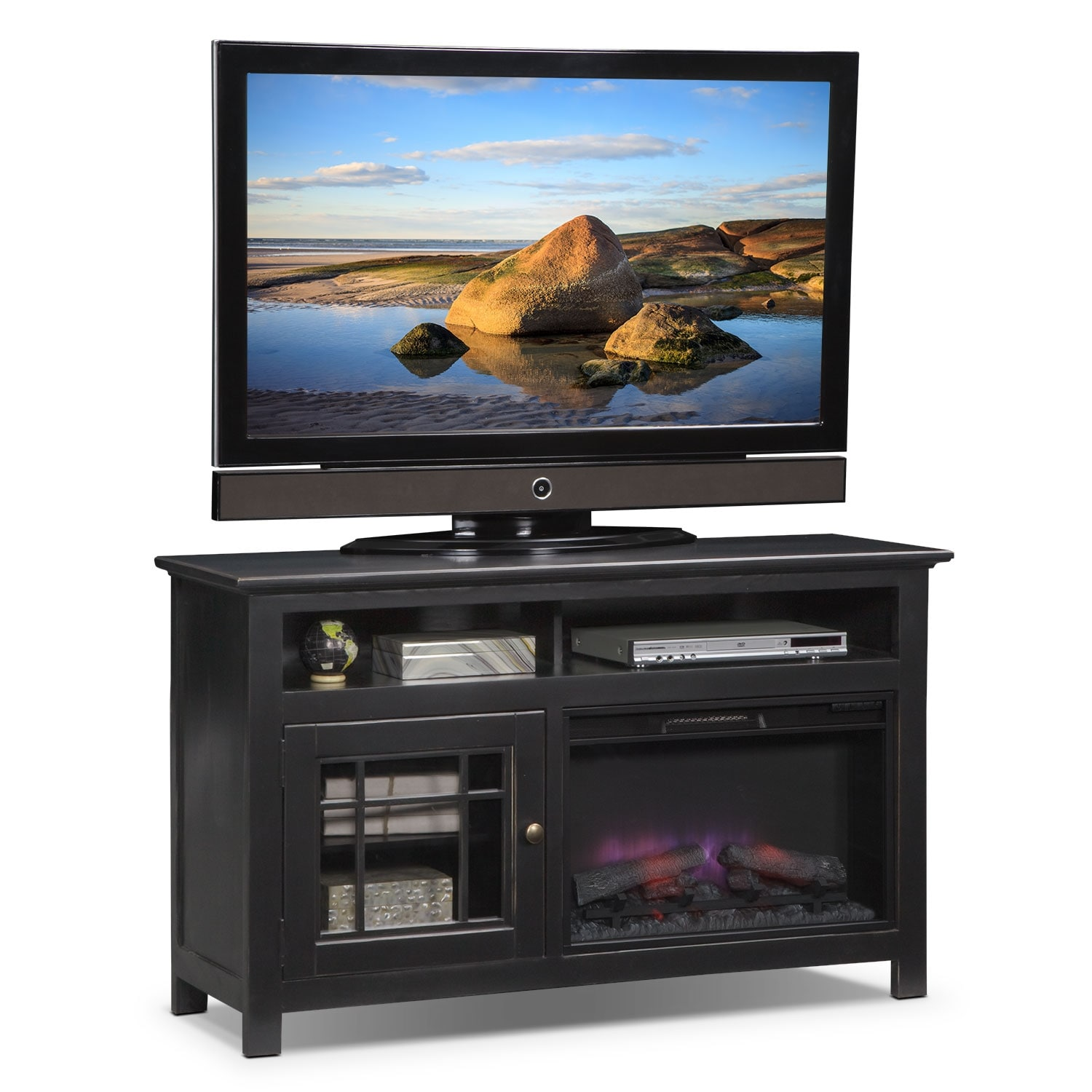 """Merrick 54"""" Fireplace TV Stand with Traditional Insert - Black"""