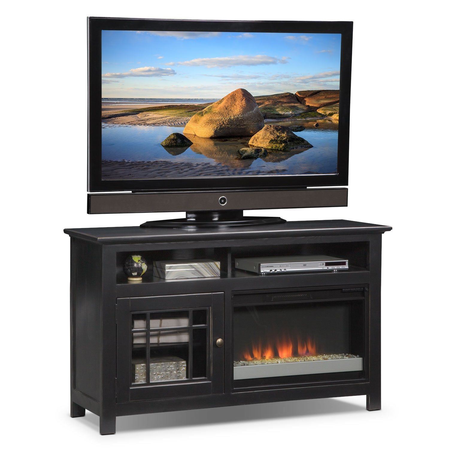 """Merrick 54"""" Fireplace TV Stand with Contemporary Insert - Black"""