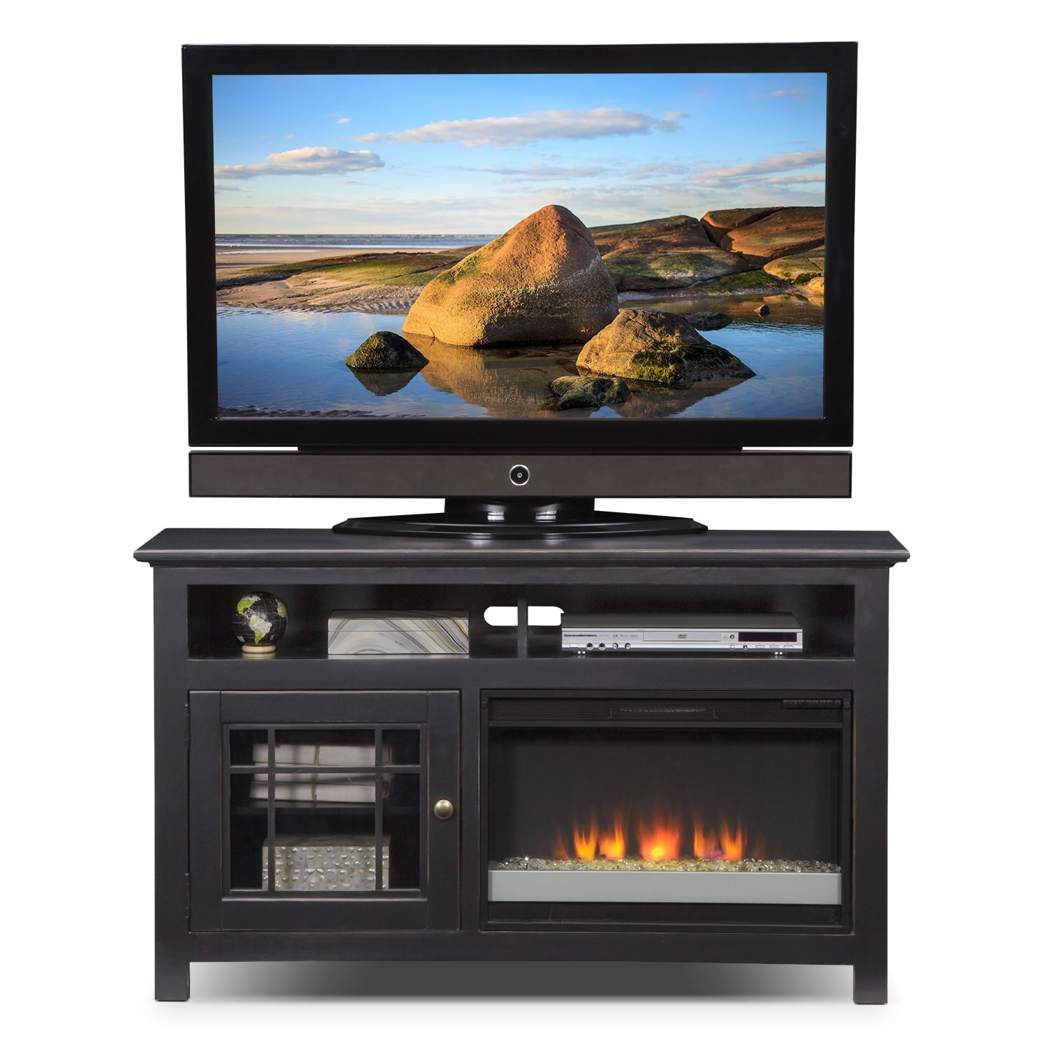 merrick black 54 fireplace tv stand with contemporary insert value city furniture. Black Bedroom Furniture Sets. Home Design Ideas