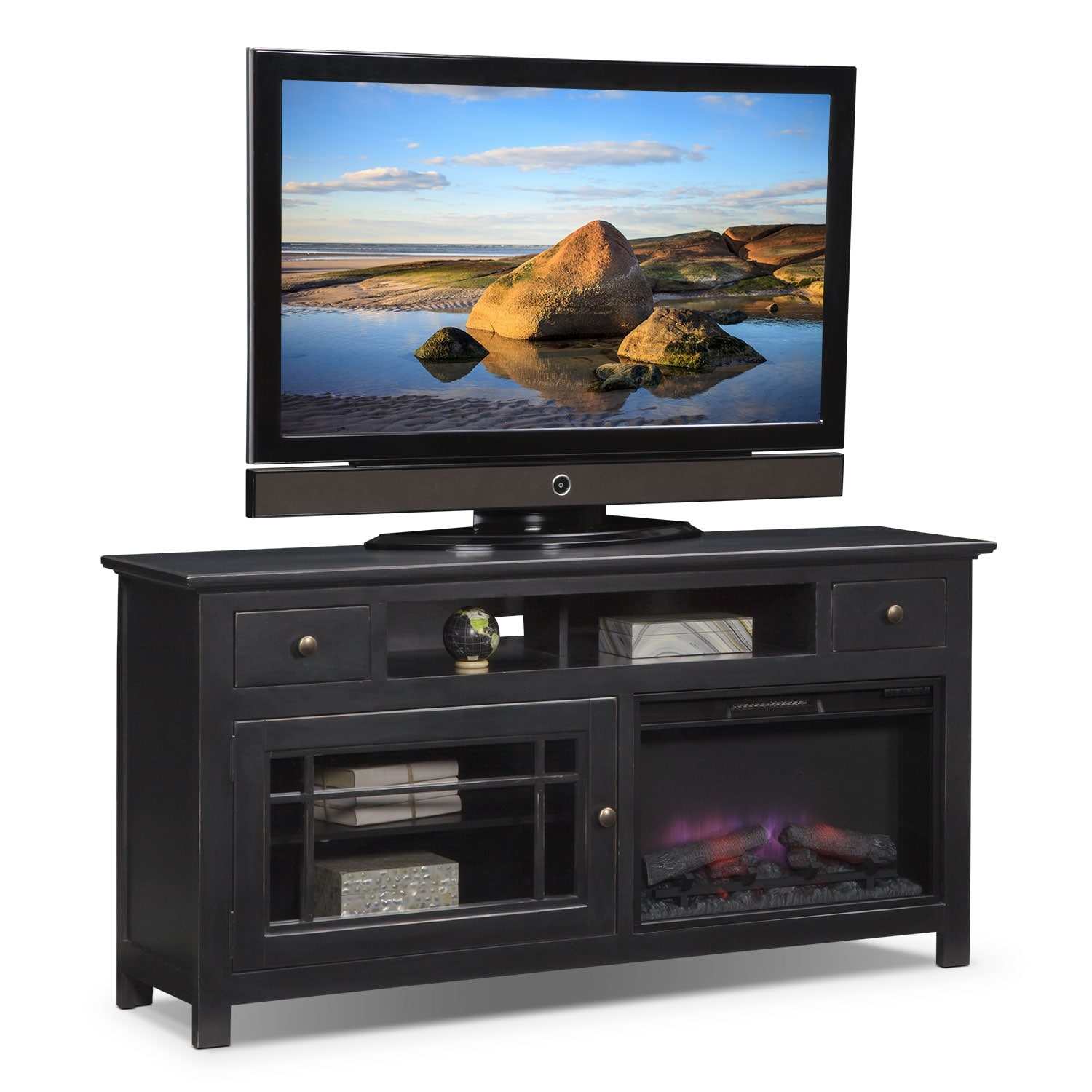 """Merrick 74"""" Fireplace TV Stand With Contemporary Insert"""