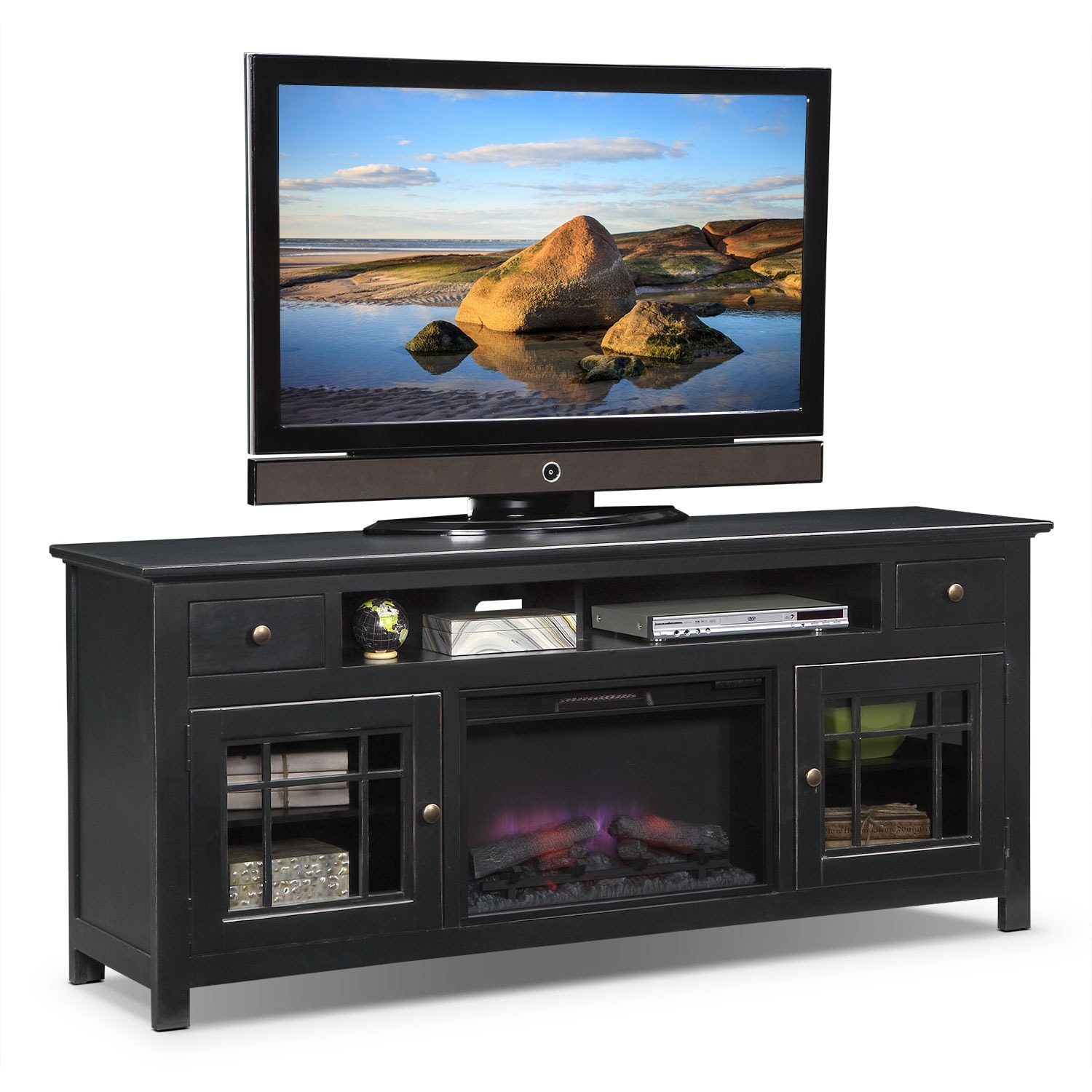 merrick  fireplace tv stand with contemporary insert  red  - merrick  fireplace tv stand with contemporary insert  red