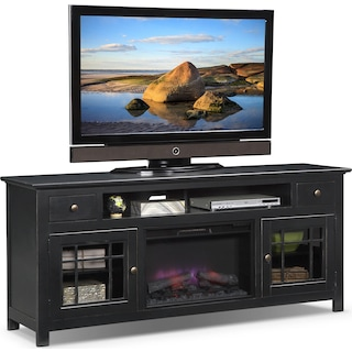 "Merrick 74"" Fireplace TV Stand with Traditional Insert - Black"