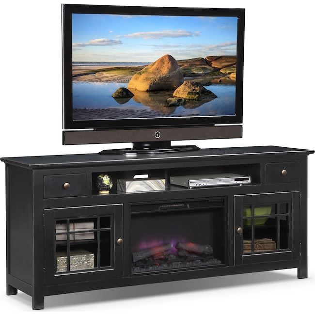 "Entertainment Furniture - Merrick 74"" Fireplace TV Stand with Traditional Insert - Black"