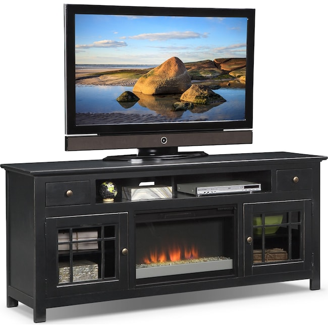 "Entertainment Furniture - Merrick 74"" Fireplace TV Stand with Contemporary Insert - Black"