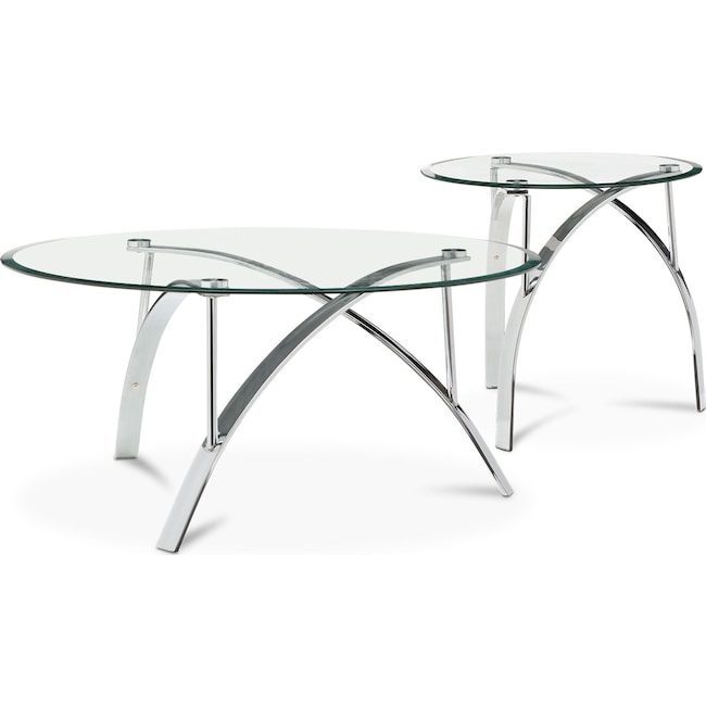Accent and Occasional Furniture - Mako Cocktail Table and End Table - Silver
