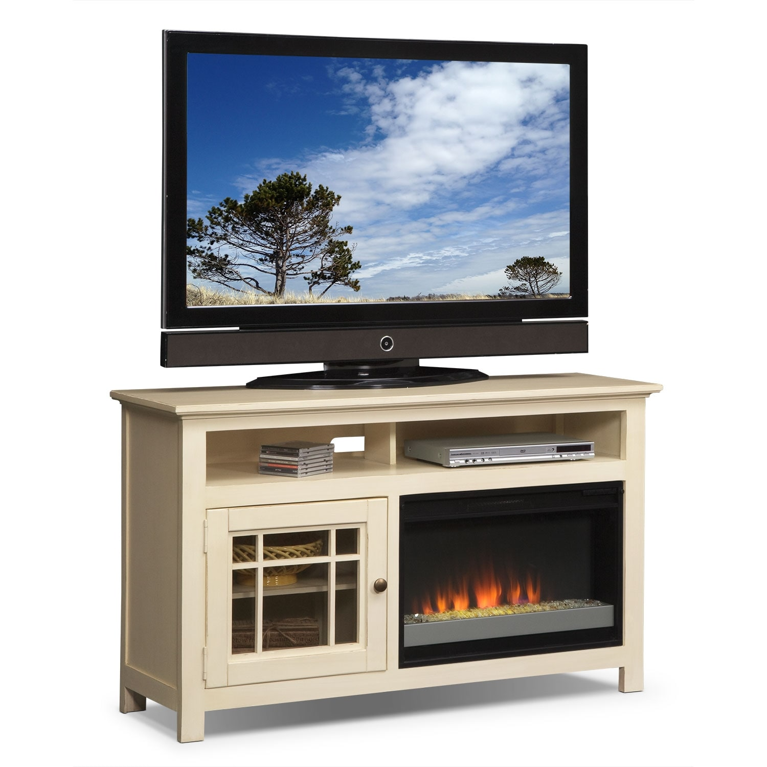 """Merrick 54"""" Fireplace TV Stand with Contemporary Insert - White"""