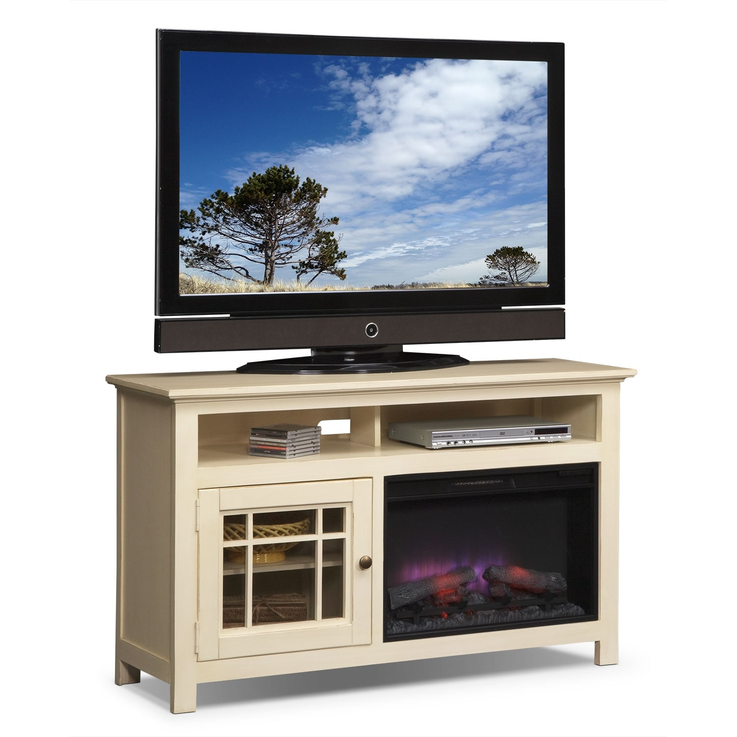 """Merrick 54"""" Fireplace TV Stand with Traditional Insert - White"""