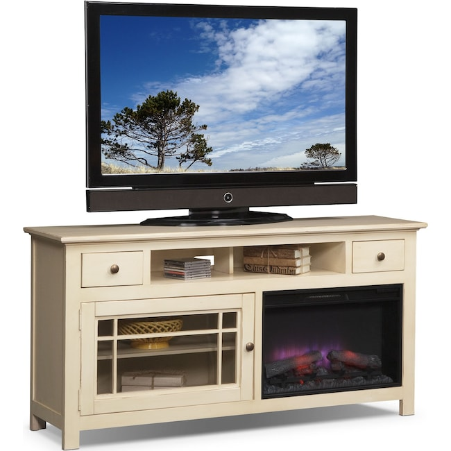"Entertainment Furniture - Merrick 64"" Fireplace TV Stand with Traditional Insert - White"