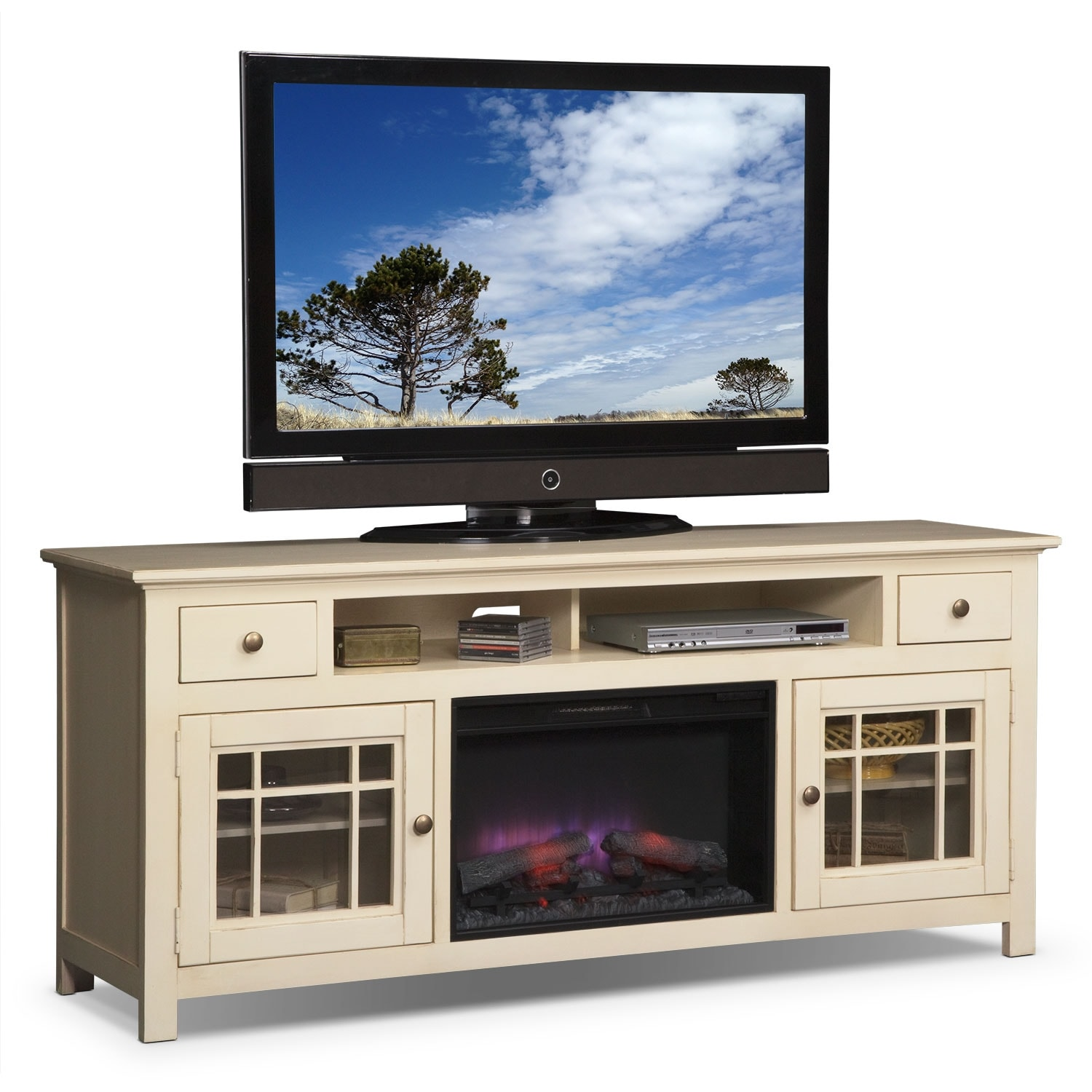 """Entertainment Furniture - Merrick White 74"""" Fireplace TV Stand with Traditional Insert"""