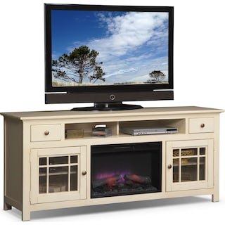 "Merrick 74"" Fireplace TV Stand with Traditional Insert - White"