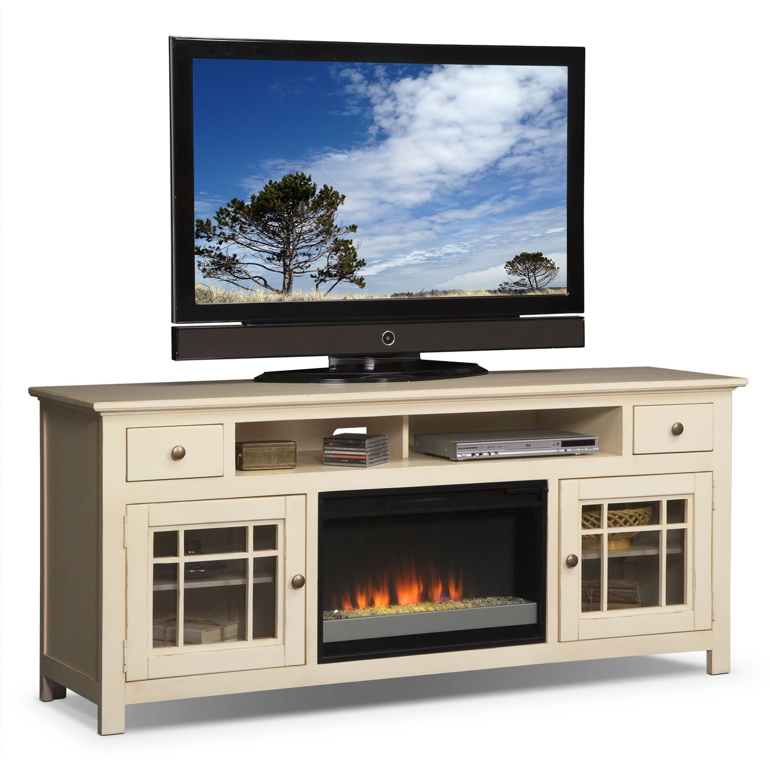 Merrick 74u0026quot; Fireplace TV Stand with Contemporary Insert ...
