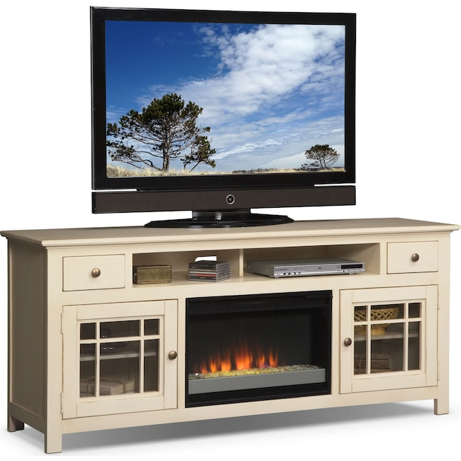 "Entertainment Furniture - Merrick 74"" Fireplace TV Stand with Contemporary Insert - White"