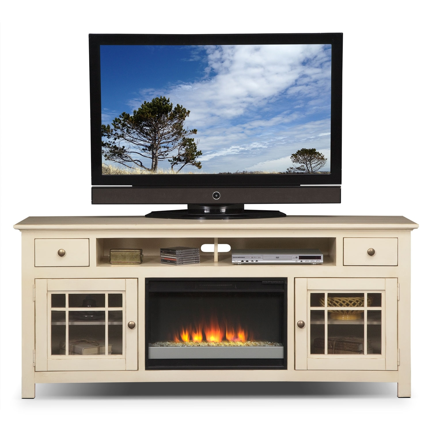 stand zolena tv stone htm from brown lg center glass ashley media and with fireplace