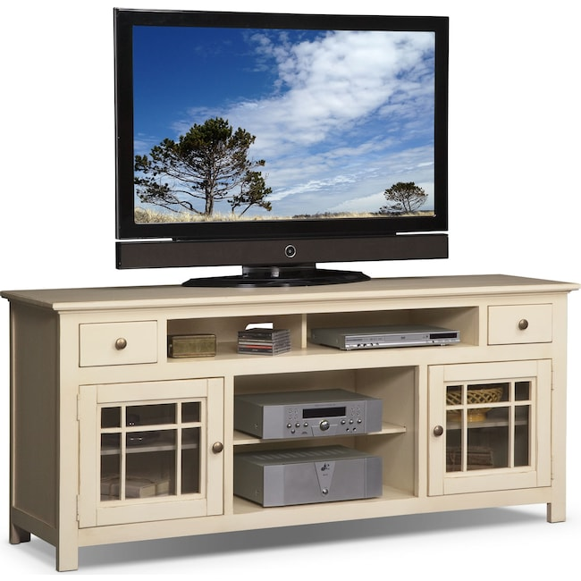 Merrick 74 Tv Stand White Value City Furniture And Mattresses