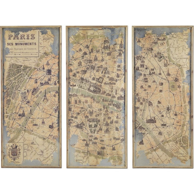 Home Accessories - Paris 3-Piece Framed Print