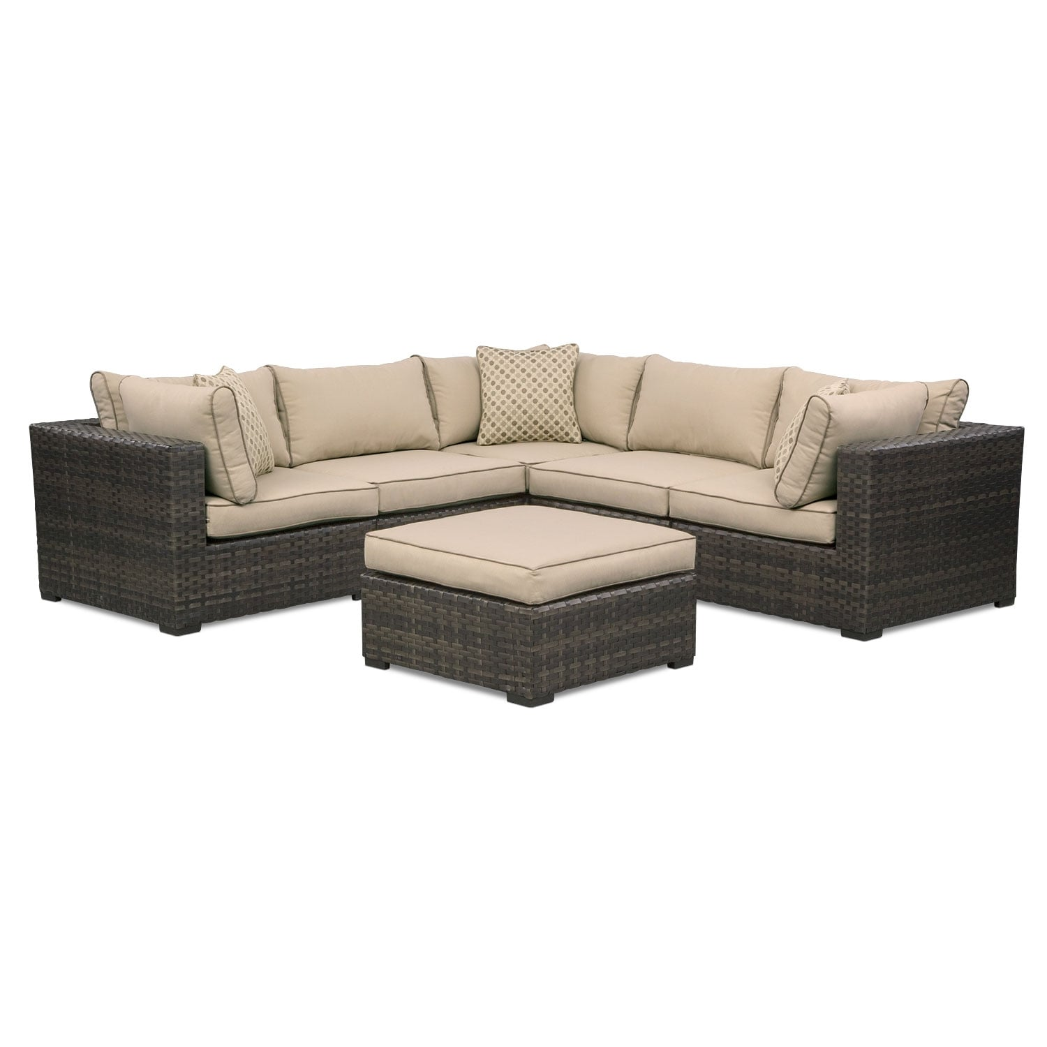 Outdoor Furniture - Regatta 5-Piece Outdoor Sectional and Ottoman Set - Brown