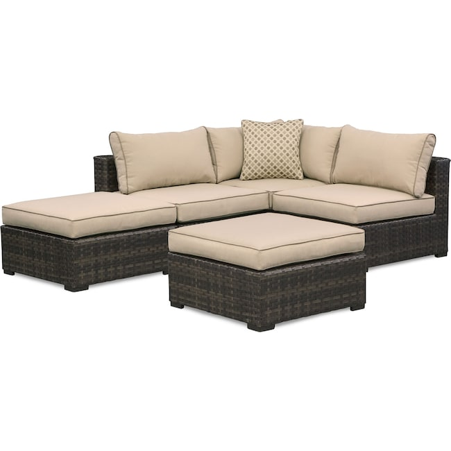 Outdoor Furniture - Regatta 3-Piece Outdoor Sectional and 2 Ottomans Set - Brown