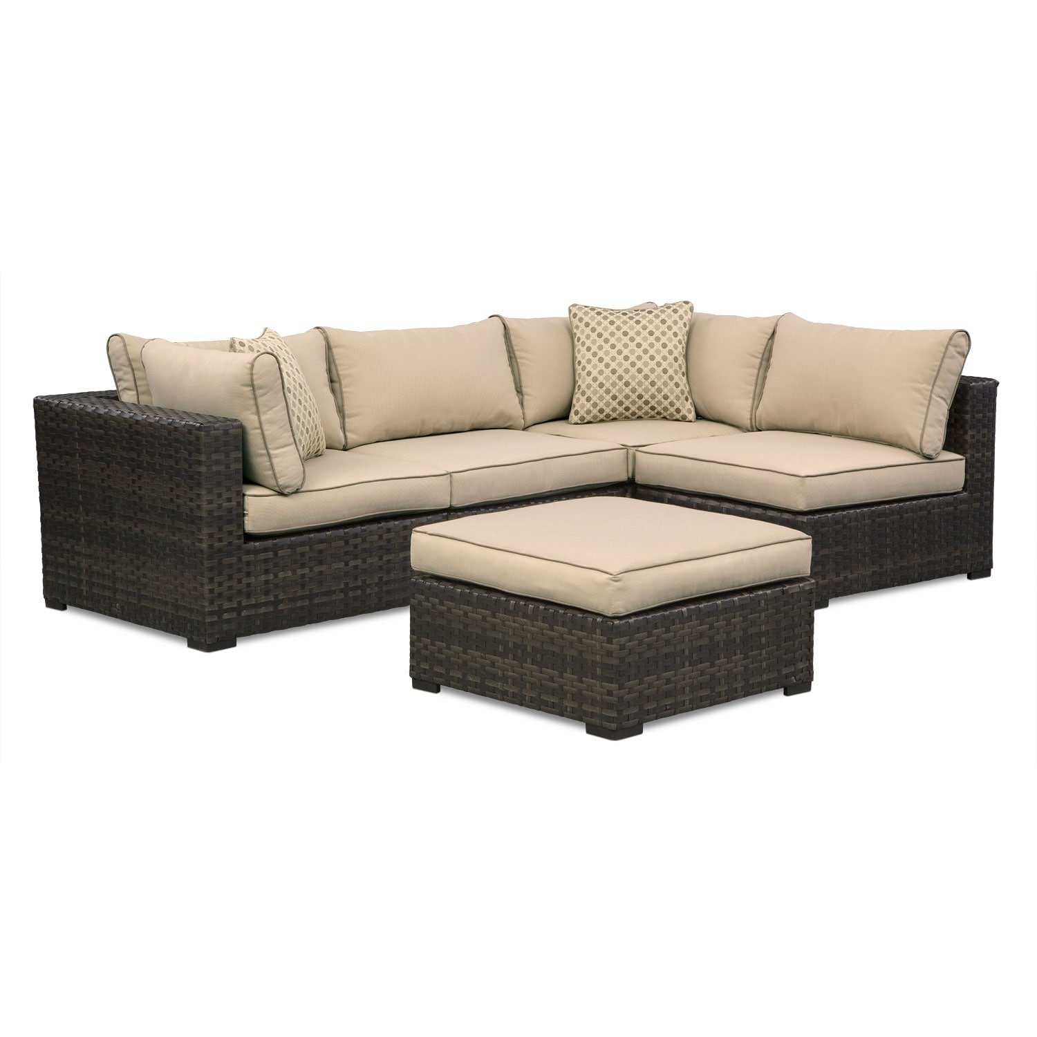 Outdoor Furniture - Regatta 4-Piece Outdoor Sectional and Ottoman Set - Brown