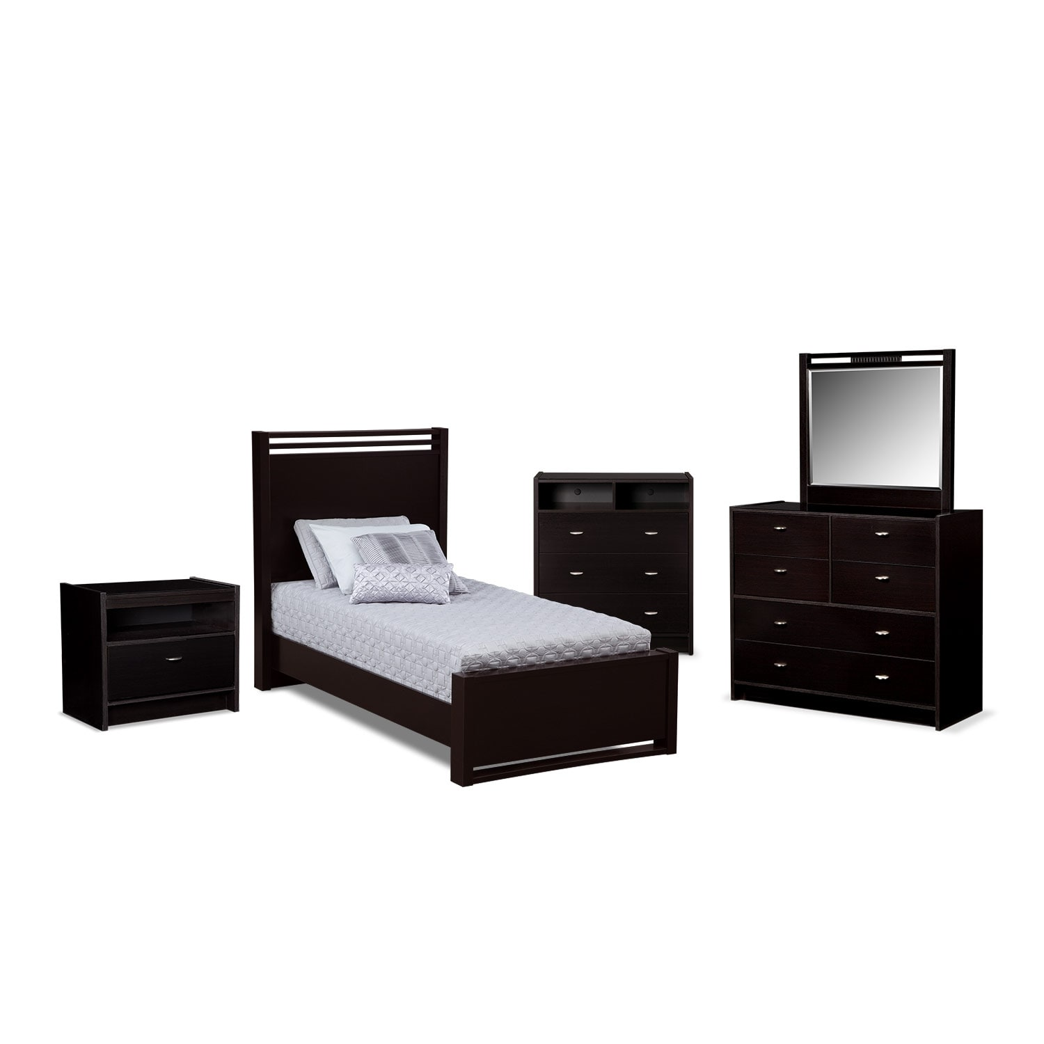Bally 7 Piece Twin Bedroom Set With Media Chest Black