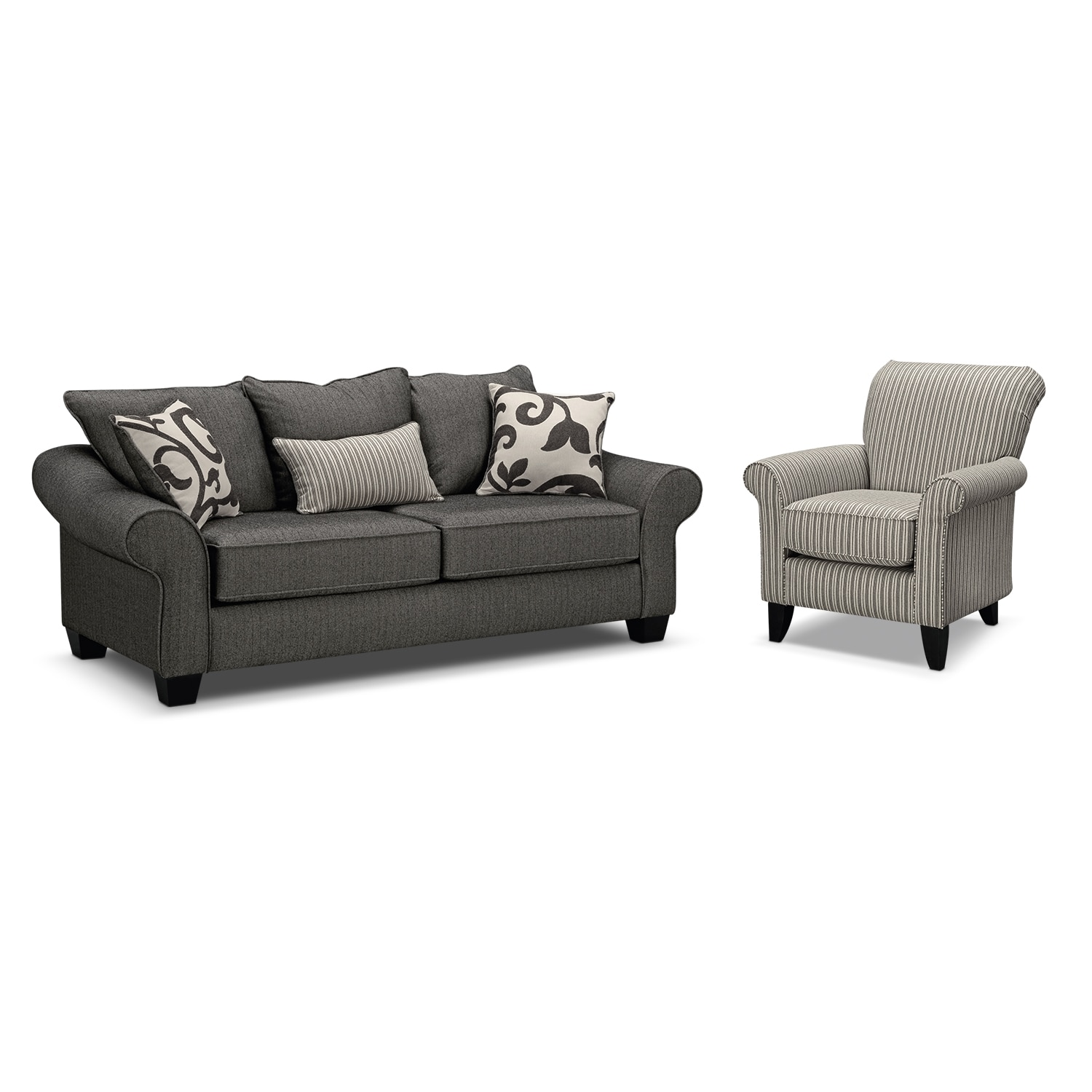 Living Room Furniture - Colette Gray 2 Pc. Sleeper Living Room with Accent Chair and Memory Foam Mattress