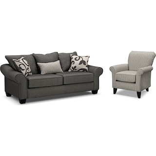 Colette Full Memory Foam Sleeper Sofa and Accent Chair Set - Gray