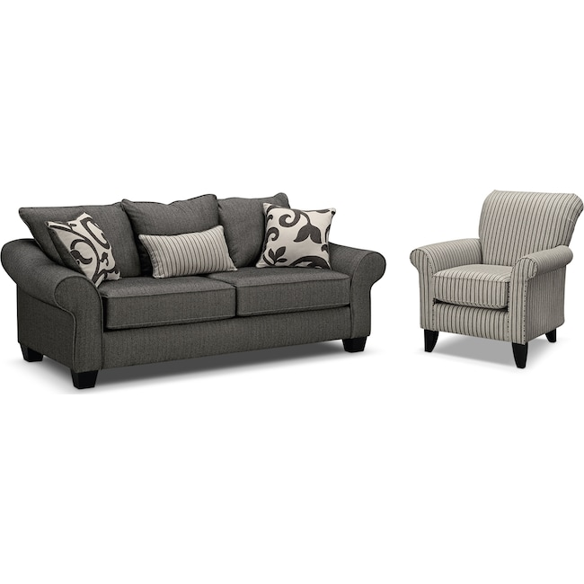 Living Room Furniture - Colette Full Memory Foam Sleeper Sofa and Accent Chair Set - Gray