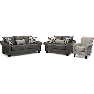Colette Full Memory Foam Sleeper Sofa, Loveseat and Accent Chair Set - Gray