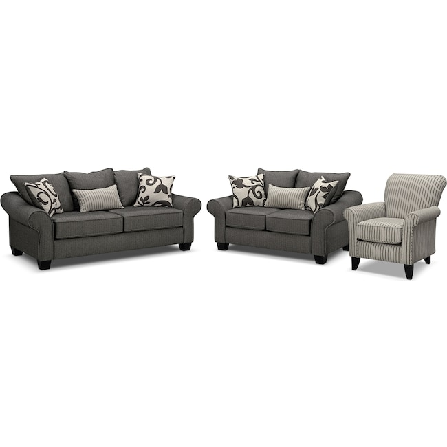 Living Room Furniture - Colette Full Memory Foam Sleeper Sofa, Loveseat and Accent Chair Set - Gray
