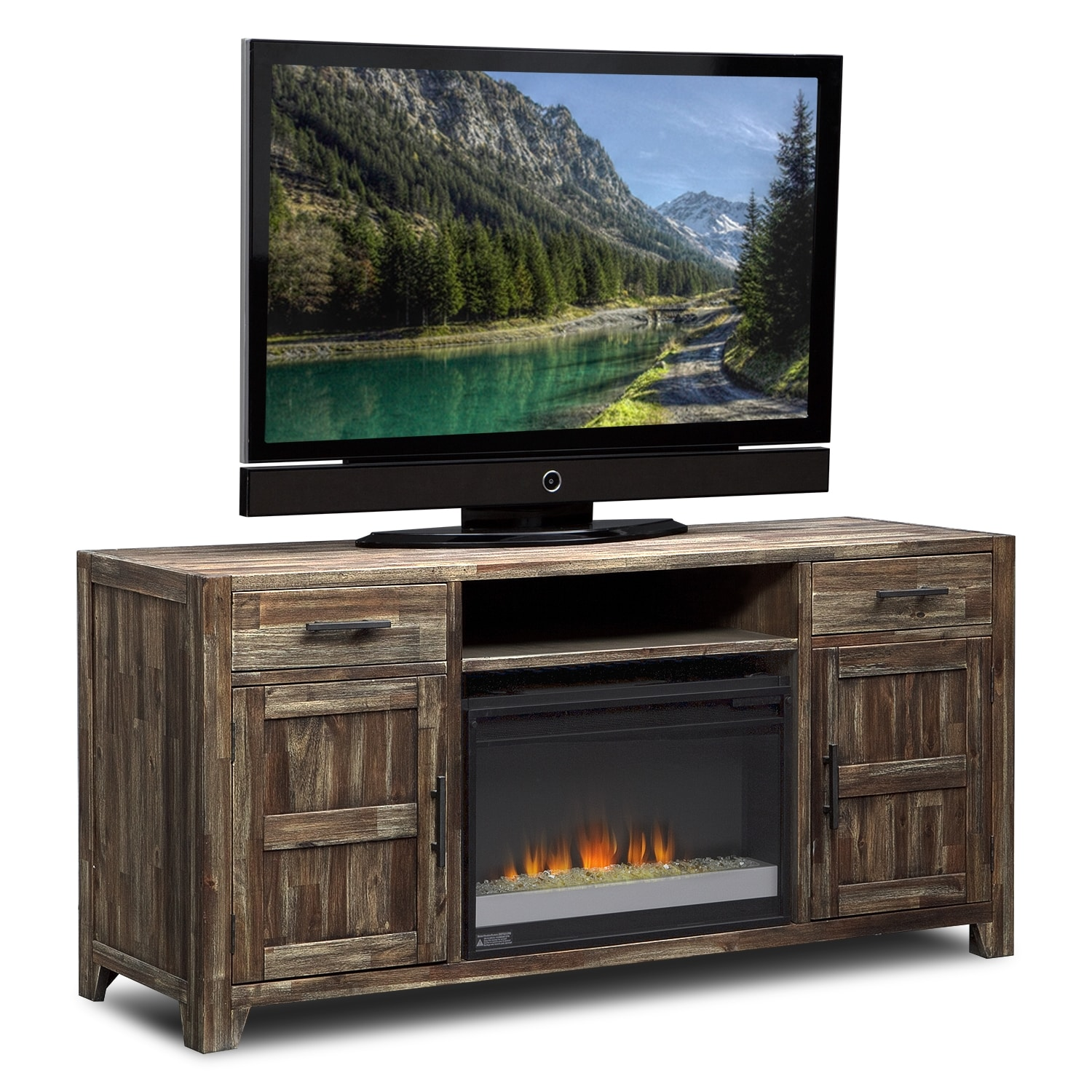 Brentwood Fireplace TV Stand with Contemporary Insert - Medium Brown