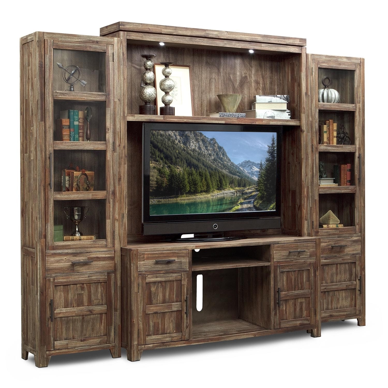 Entertainment Furniture - Brentwood 4 Pc. Entertainment Wall Unit